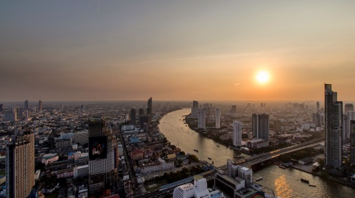 Chao Phraya River sunset, Thailand